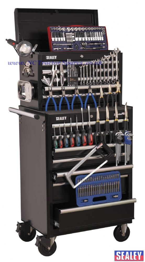 Topchest & Rollcab Combination 15 Drawer with Ball Bearing Runners - Black with 144pc Tool Kit